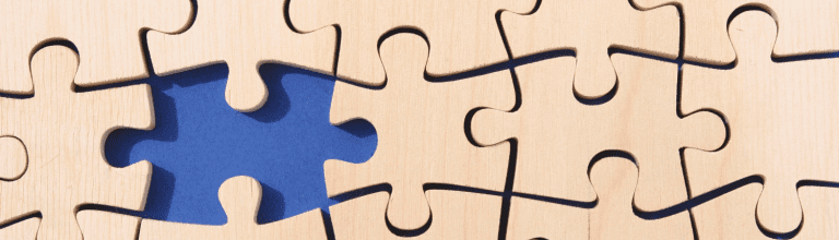a missing puzzle piece in blue indicating ghost assets and poor asset management